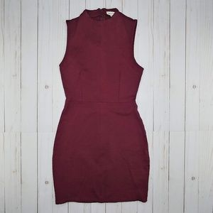 UO Silence + Noise | Burgundy Bodycon Mini Dress